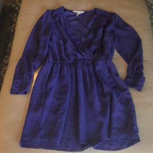 EUC BCBG faux wrap periwinkle dress